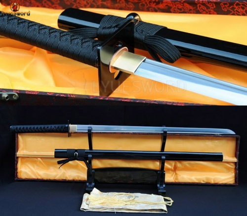 Full Tang Japanese Samurai Sword Ninja Damascus Folded Steel Sharp Black Iron Tsuba