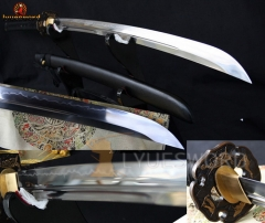 Handmade Japanese Samurai Sword NAGINATA Clay Tempered Full Tang Sharp Blade Dragon Fitting 40CM Long Handle