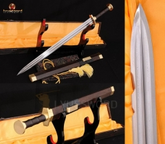 High Quality Chinese Jian Real Sword Very Sharp Damascus Double Groove Blade Rosewood Saya Copper Fitting