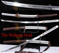 The Walking Dead Katana-Michonne's Sword Zombie Killer Folded Steel Clay Tempered Battle Sword Razor Sharp