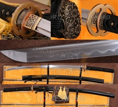Functional Japanese Sword Samurai Katana Damascus Steel Clay Tempered Battle Ready Razor Sharp Blade Real Cut