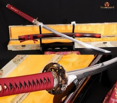 Japanese Samurai Sword KATANA Folded Steel Clay Tempered Sharp Blade Real Cut