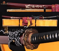 High Quality Japanese Samurai Sword Katana Folded Steel Clay Tempered Blade Battle Sharp Dragon Fitting