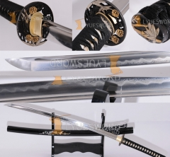 High Quality Japanese Samurai Sword Clay Tempered Katana Folded Steel Kobuse Blade Battle Sharp