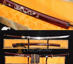 Handmade Japanese Katana Sword Clay Tempered Real Hamon Unokuri-Zukuri Blade Battle Sharp Dragon Saya