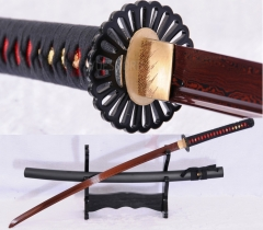 Red Damascus Steel Full Tang Japanese Katana Samurai Sword Sharp Blade Cut Tree