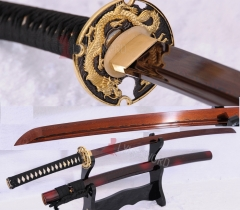 Handmade Japanese Katana Samurai Sword Red Damascus Steel Full Tang Blade Sharp