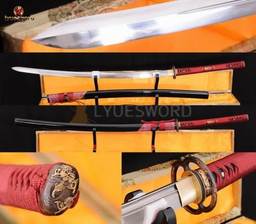 Japanese Sword Katana Folded Steel Clay Tempered Kogarasu-Maru Blade Razor Sharp