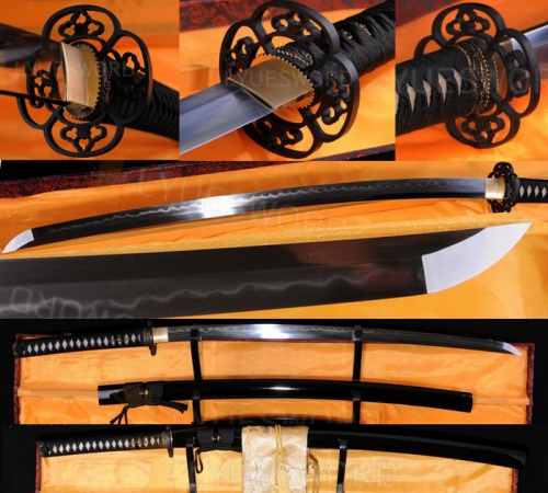 Folded Steel Clay Tempered Blade Japanese Samurai Sowrd Full Tang Blade Katana Razor Sharp