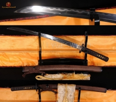 JAPANESE SWORD WAKIZASHI CLAY TEMPERED DAMASCUS FOLDED BLADE HUALEE WOOD OX HORN SAYA