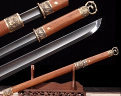 Traditional Hand Forge Chinese Sword Folded Steel Dao Very Sharp Blade Dragon Phoenix Fittings Rosewood Scabbard