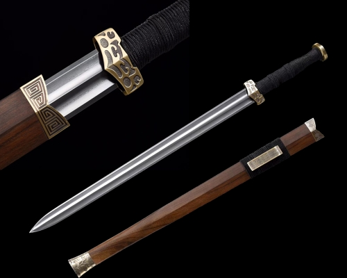 High Quality Hand Forge Chinese Sword Han Dynasty Jian Folded Steel Double Groove Sharp Blade