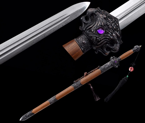 Handmade Chinese Battle Ready Sword Martial Arts Jian Folded Steel Very Blade Double Groove