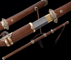 Folded Steel Clay Tempered Chinese Sword & Dao Rosewood Scabbard Very Sharp Blade Brass Fittings