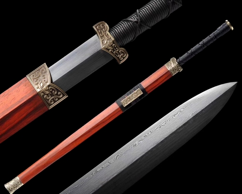 Very Sharp Chinese Han Jian Damascus Folded Pattern Steel Double Edge Blade Chinese Kung Fu Sword