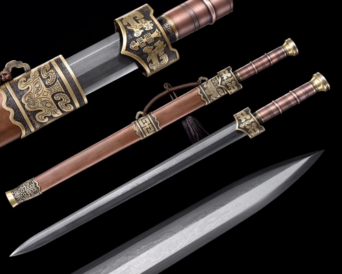 Hand Forge Chinese Jian Warring States Sword Folded Pattern Steel Very Sharp Blade Pure Copper Guard