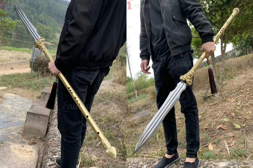 Chinese Long Qiang Spear Martial Arts  Folded Damascus Steel Elite Military Weapon