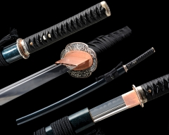 T10 High Carbon Steel Clay Tempered Unokubi Zukuri Double Edge Japanese Samurai Katana Sword