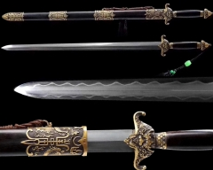 Hand Forged Chinese Sword / Qianlong's Emperor Jian / Clay Temepred Differentially Hardened Folded Pattern Steel / Ebony Sheathe / Very Sharp Blade