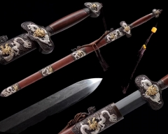 Top Quality Hand Forged Folded Steel Water Hada Blade Flying Dragon Fittings Chinese Sword Battle Ready Sharp Jian