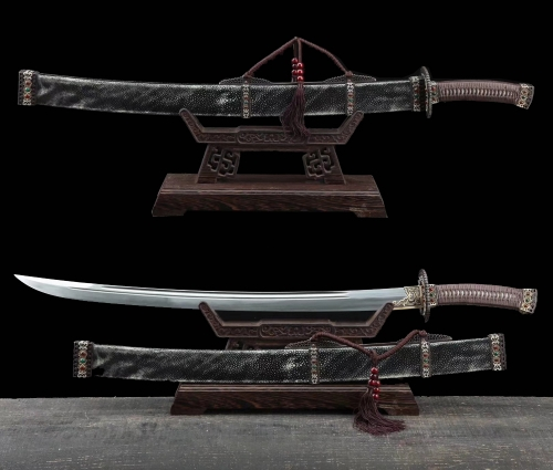 Handmade Chinese Da Ming Dynasty Swords Clay Tempered Folded Steel Blade Sharp Bldae Hazuya Polish Full Rayskin Wrap