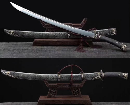 Flying Dragon Chinese Sword Sabre Damascus Folded Steel Clay Tempered Sharp Blade Full Rayskin Wrap Dao