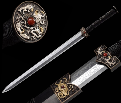 Hand Forged Chinese Sword | Dragon Fittings | Razror Sharp Edge | Folded Steel Blade | Hand Dynasty Jian | Kung Fu Wushu Chinese Martial Arts