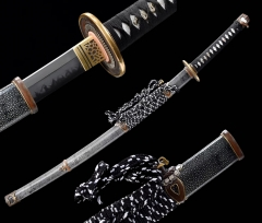 Hand Polished Japanese Tachi 1095 High Carbon Steel Clay Tempered Abrasive Sharp Blade Copper Fittings Full Tang Sword