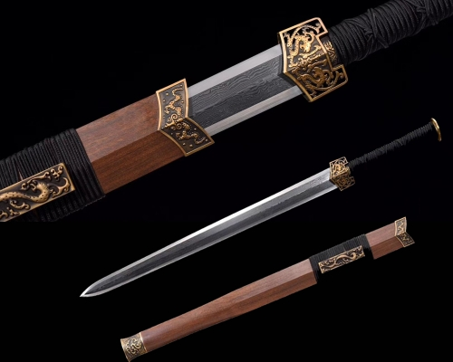 Hand Forged Chinese Sword Dragon JIAN Damascus Folded Steel Blade Copper Fittings Very Sharp Edge