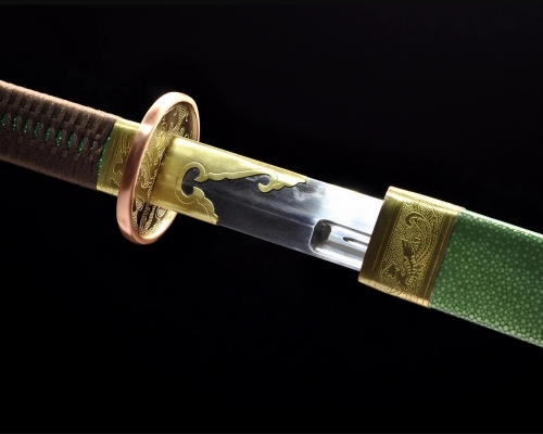 Chinese Sword Ming Dynasty Broadsword Folded Steel Clay Tempered Full Rayskin Wrap Tai Chi Dao